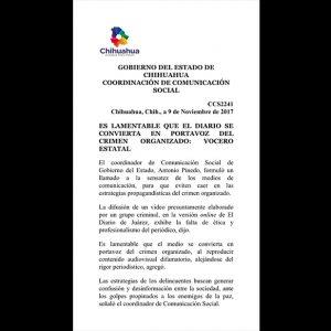 Javier Corral Jurado, ha dejado de ejercer como mandatario estatal para ofrecer un muestrario ridículo de cómo perseguir y censurar periodistas