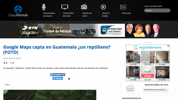 Google Maps capta en Guatemala un reptiliano