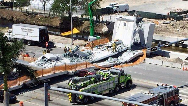 Se derrumbó un puente en Miami y hay varios muertos