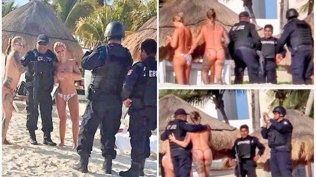 Sancionan a policías de Cancún por tomarse fotos con turistas en topless